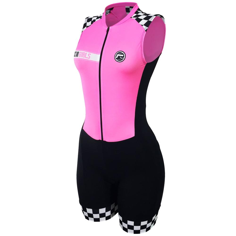 Macaquinho de Ciclismo Feminino Sem manga Barbedo Race Girls Pink
