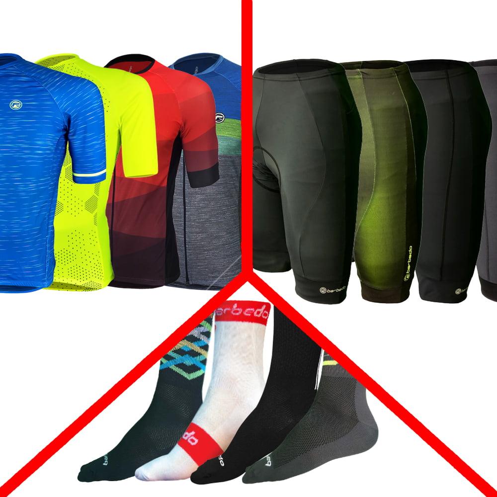 Conjunto Ride Barbedo: 1 Camisa Masculina Modelagem Raglan + 1 Bermuda Masculina de Ciclismo + 1 Meia de Ciclismo