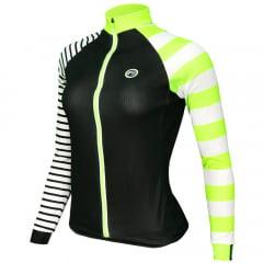Camisa de Ciclismo Feminina Manga Longa Barbedo Isoard Neon