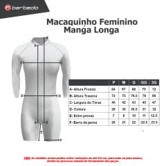 Kit Estilo Inverno Barbedo: 1 Macaquinho Feminino Manga Longa + 1 Luva de Ciclismo
