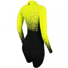 Macaquinho de Ciclismo Feminino Manga Longa Barbedo Maragogi Amarelo