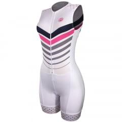 Macaquinho de Ciclismo Feminino Sem manga Barbedo Advance Branco