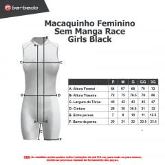 Macaquinho de Ciclismo Feminino Sem manga Barbedo Race Girls Black