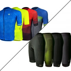 Kit Comfort Barbedo: 1 Camisa Masculina Modelagem Raglan + 1 Bermuda Masculina de Ciclismo