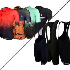 Kit Race Barbedo: 1 Camisa Masculina Modelagem Vanguard + 1 Bretelle Masculino de Ciclismo