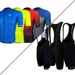 Kit Training Barbedo: 1 Camisa Masculina Modelagem Raglan + 1 Bretelle Masculina de Ciclismo